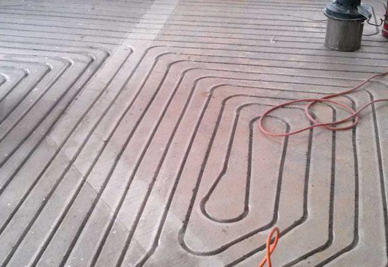 Fußbodenheizung im Frässystem
